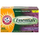 Arm & Hammer Essentials Fabric Softener Sheets, Lavender & Linen- 144 ea