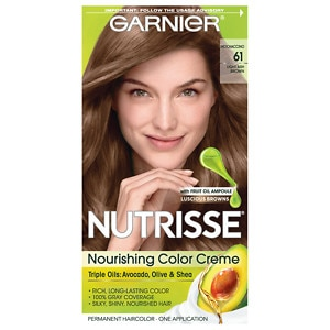 Garnier Nutrisse Permanent Haircolor, Light Ash Brown 61 (Mochaccino)