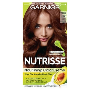 Garnier Nutrisse Permanent Haircolor, Med Golden Mahogany Brown 535 (Choc Caramel)