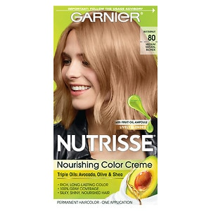 Garnier Nutrisse Permanent Haircolor, Medium Natural Blonde 80 (Butternut)