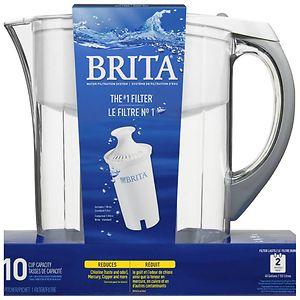 Brita Grand Water Filter Pitcher, White, 10 Cups