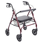 Drive Medical Heavy Duty Bariatric Rollator Walker with Large Padded Seat, Red- 1 ea