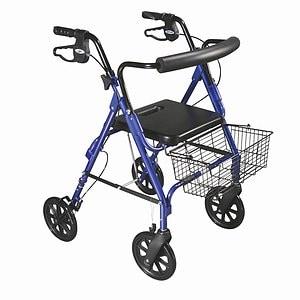 Drive Medical DLite Rollator Walker with Loop Brakes, 8 Inch Wheels, Blue