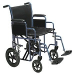 Drive Medical Bariatric Heavy Duty Transport Wheelchair with Swing Away Footrest, 20 Inch, Blue- 1 ea