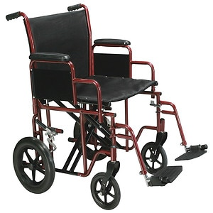 Drive Medical Bariatric Heavy Duty Transport Wheelchair with Swing Away Footrest, Red, 20 Inch