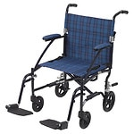 Drive Medical Fly Lite Ultra Lightweight Transport Wheelchair, Blue Plaid- 1 ea