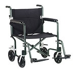 Drive Medical Flyweight Lightweight Transport Wheelchair, Green Frame/Black Upholstery- 1 ea