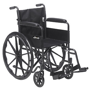 Drive Medical Silver Sport 1 Wheelchair with Full Arms and Swing away Removable Footrest, 18 inch