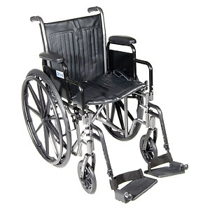 Drive Medical Silver Sport 2 Wheelchair with Detachable Desk Arms and Swing Away Footrest, 16 inch- 1 ea