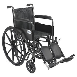 Drive Medical Silver Sport 2 Wheelchair with Elevating Foot Rest, 18 inch