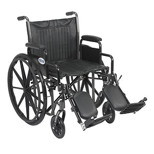 Drive Medical Silver Sport 2 Wheelchair with Detachable Desk Arms and Elevating Leg Rest, 20 inch
