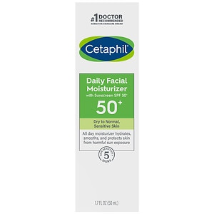 Cetaphil Daily Facial Moisturizer for All Skin Types, SPF 50- 1.7 oz