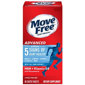 Schiff Move Free Advanced Plus MSM & Vitamin D3 Dietary Supplement, Tablets, 80 ea