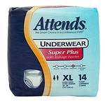 Attends Underwear Super Plus with Leakage Barriers Extra Large 58-68in, 210-250lb