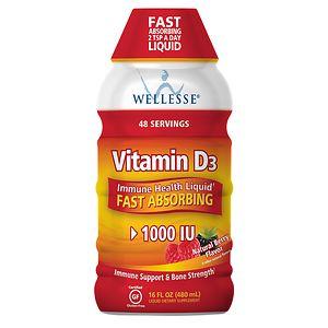 Wellesse Vitamin D3 1000 IU, Liquid, Natural Berry- 16 fl oz