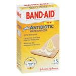 Band-Aid Adhesive Bandages Plus Antibiotic, Waterproof, One Size- 15 ea