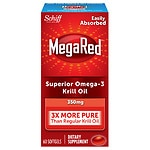 Schiff MegaRed Omega 3 Krill Oil 300 mg Dietary Supplements,