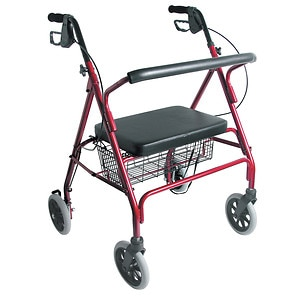 Duro-Med Extra Wide Heavy Duty Steel Bariatric Rollator, Burgundy- 1 ea