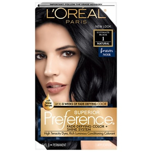 L'Oreal Paris Preference Fade Defying Color & Shine System, Permanent, Ultimate Black 1- 1 ea