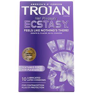 Trojan Her Pleasure Latex Condoms, Ecstasy- 10 ea
