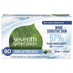 Seventh Generation Natural Fabric Softener Sheets, Free & Clear- 80 ea