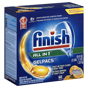 Finish All-in-One Dishwasher Detergent Gelpacs, Orange, 60 ea
