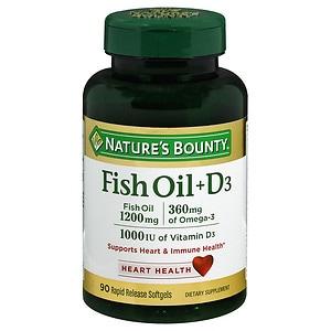 Nature's Bounty Fish Oil + D3, 1200mg & 1000 IU, Softgels, 90 ea