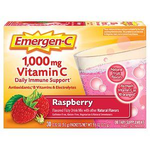 Emergen-C 1000 mg Vitamin C, Raspberry- 30 ea