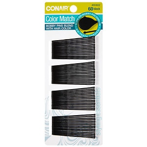 Conair Brush Styling Essentials Matte Minis Bobby Pins, Black
