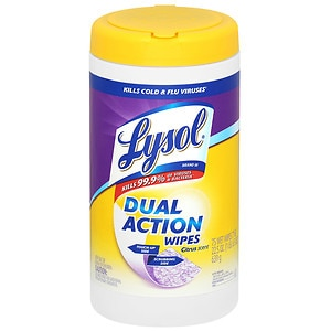 Lysol Dual Action Disinfecting Wipes, Citrus- 75 ea