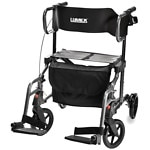 Lumex Hybrid Transport Chair, Titanium