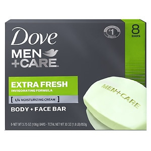 Dove Men+Care Body & Face Bar, Extra Fresh, 8 pk, 4 oz