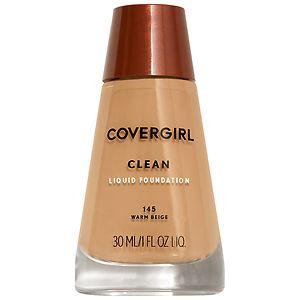 CoverGirl Clean Liquid Foundation for Normal Skin, Warm Beige 145