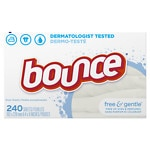 Bounce Fabric Softener Dryer Sheets Free & Gentle, Unscented- 240 ea