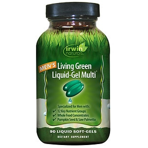 Irwin Naturals Men's Living Green Liquid-Gel Multi Soft-Gels- 90 liquid softgels