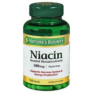 Nature's Bounty Flush Free Niacin Inositol Hexanicotinate 500 mg Capsules- 120 ea
