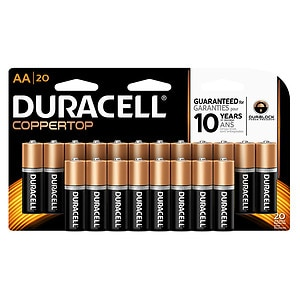 Duracell Coppertop Alkaline Batteries, AA, 20 ea