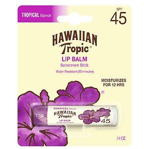 Hawaiian Tropic Lip Balm Stick Sunscreen, SPF 45+, Tropical- .14 oz