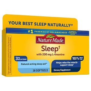 Nature Made Natural Sleep Aid, Night Supply, Liquid Softgels, 30 ea