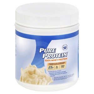 Pure Protein 100% Whey Protein Shake Powder, Vanilla Cream- 16 oz
