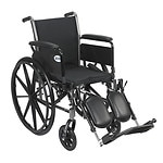 Drive Medical Cruiser III Lightweight Wheelchair w Flip Back Removable Full Arms and Leg Rest, Black, 20 Inch- 1 ea