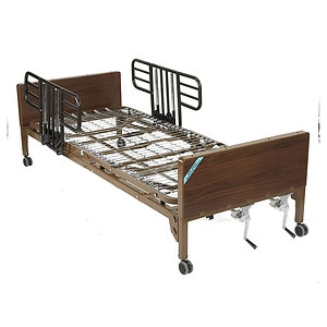 Drive Medical Multi Height Manual Hospital Bed with Half Rails- 1 ea