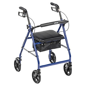 Drive Medical Rollator Walker with Fold Up Removable Back Support Padded Seat, Blue- 1 ea