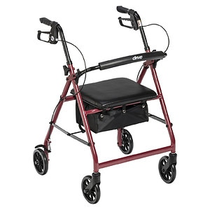 Drive Medical Rollator Walker with Fold Up and Removable Back Support and Padded Seat, Red