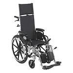 Drive Medical Viper Plus Lightweight Reclining Wheelchair w Leg rest and Flip Back Desk Arms, 12 Inch- 1 ea