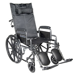 Drive Medical Silver Sport Reclining Wheelchair with Detachable Desk Arms and Leg Rest, 18 Inch