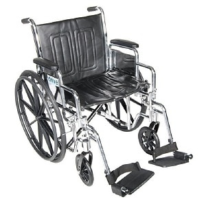 Drive Medical Chrome Sport Wheelchair with Detachable Full Arms and Swing Away Footrest, Black, 18 inch