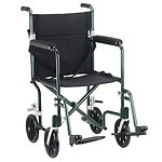 Drive Medical Flyweight Lightweight Transport Wheelchair, Green, 19 inch- 1 ea