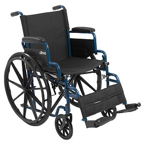 Drive Medical Wheelchair with Flip Back Desk Arms and Swing Away Footrest, Blue Streak, 18 Inch