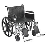 Drive Medical Sentra EC Heavy Duty Wheelchair with Detachable Full Arms and Elevating Leg Rest, Black, 24 inch- 1 ea
